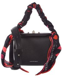 Alexander McQueen - Printed Scarf 16 Leather Box Bag - Lyst