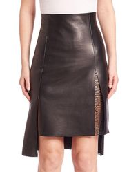 Akris - High-low Leather Skirt - Lyst