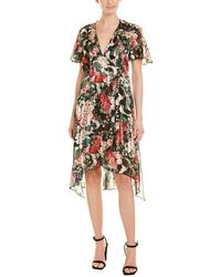 Anna Sui - Asymmetric Pleated Floral-print Satin Dress - Lyst
