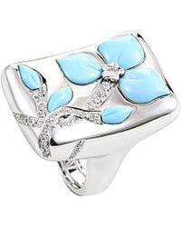 Heritage - Oro Trend 18k 0.40 Ct. Tw. Diamond & Turquoise Ring - Lyst