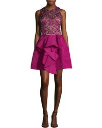 Marchesa - Couture Silk Floral Embroidered Flared Dress - Lyst