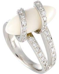Heritage - Platinum 0.70 Ct. Tw. Diamond & Coral Ring - Lyst