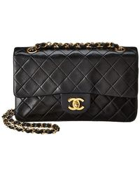 4545452597ba Lyst - Chanel Black Quilted Lambskin Leather Small Classic Flap Bag ...