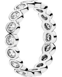 PANDORA - Silver Cz Alluring Brilliant Ring - Lyst