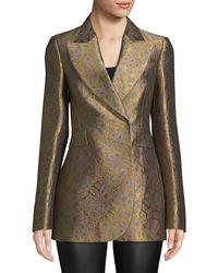 Lanvin Brocade Silk-blend Blazer - Green