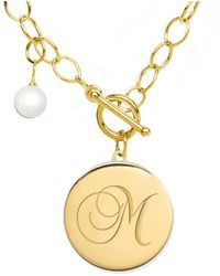 Jane Basch - 22k Over Silver 6-8mm Pearl A-z Initial Toggle Necklace - Lyst