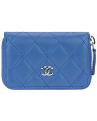 Chanel - Blue Lambskin Leather Zippy Card Case - Lyst