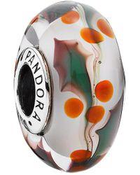 PANDORA - Christmas Holly Silver Murano Glass Charm - Lyst