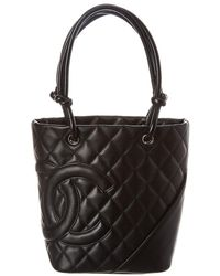 Chanel - Black Quilted Calfskin Leather Mini Cambon Tote - Lyst