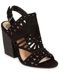 Vince Camuto - Leather Stacked Blocked Sandal - Lyst