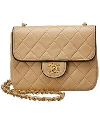 Chanel - Beige Quilted Lambskin Leather Piped Mini Half Flap Bag - Lyst