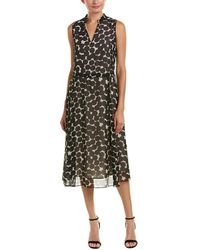 Anne Klein - Dot Print Split Neck Dress - Lyst