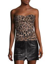 Roberto Cavalli - Strapless Leopard Print Top - Lyst