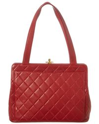 Chanel - Red Quilted Caviar Leather Shoulder Bag - Lyst