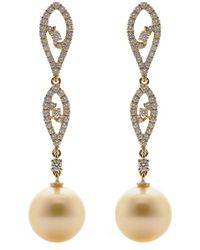 Tara Pearls - 18k 0.65 Ct. Tw. Diamond & 10-11mm South Sea Pearl Long Earrings - Lyst