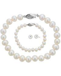 Belpearl - Silver 8-9mm Freshwater Pearl Necklace, Earrings, & Bracelet Set - Lyst