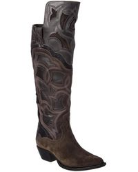 Frye - Shane Embroidered Suede & Haircalf Boot - Lyst