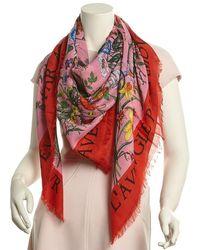 Gucci - Flora Snake Print Wool & Silk-blend Shawl - Lyst