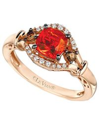 Le Vian - ® Chocolatier® 14k Rose Gold 0.71 Ct. Tw. White & Brown Diamond & Fire Opal Ring - Lyst