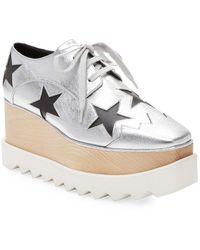 8df2e3266c22 Stella McCartney - Elyse Metallic Star Cut-out Platform Oxford - Lyst