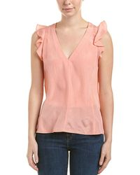 Rebecca Taylor - Ruffled Silk V-neck Top - Lyst