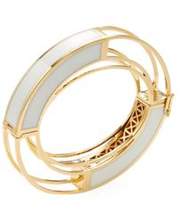 Eddie Borgo - 18k Yellow Gold Plated Circle Frame Bangle - Lyst