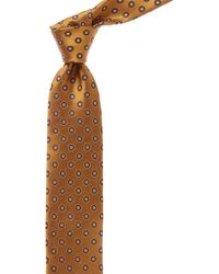 Canali - Bronze And Navy Circle Silk Tie - Lyst