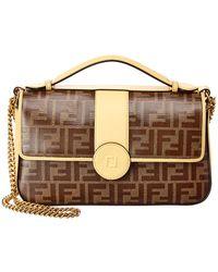 Fendi - Double F Zucca Canvas & Leather Shoulder Bag - Lyst