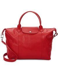 Longchamp - Le Pliage Cuir Leather Medium Top Handle Satchel - Lyst