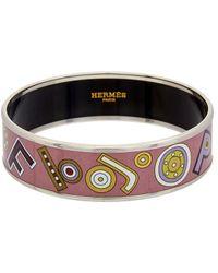 Hermès - Purple Printed Enamel Wide Bangle - Lyst