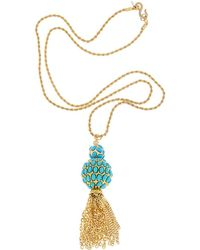 Kenneth Jay Lane - 22k Plated Turquoise 33in Necklace - Lyst