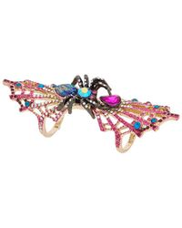 Betsey Johnson - Halloween Cz Spider & Spider Web Double Finger Ring - Lyst