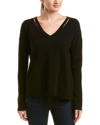 White + Warren - Wool & Cashmere-blend Split Neck Pullover - Lyst