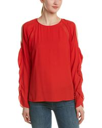 Chelsea and Walker - Caroll Cold Shoulder Ruffle Blouse - Lyst