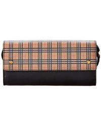 Burberry Small Check Leather Wallet On Chain