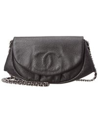 Chanel - Black Caviar Leather Half Moon Wallet On Chain - Lyst
