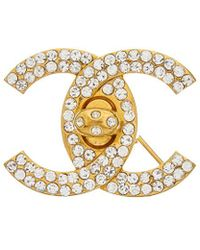 Chanel - Gold-tone & Crystal Cc Small Turnlock Pin - Lyst