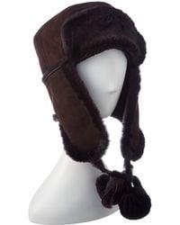 a6ccb784ca9 Surell Rabbit Fur Aviator Hat in Brown - Lyst