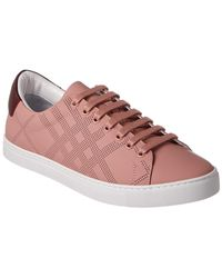 Burberry - Check Perforated Leather Trainer - Lyst
