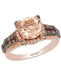 Le Vian - 14k Rose Gold 1.83 Ct. Tw. White And Chocolate Diamond And Morganite Ring - Lyst