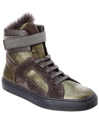 Brunello Cucinelli - Leather High Top Trainer - Lyst