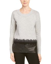 Andrew Marc - Wool & Cashmere-blend Leather Trim Jumper - Lyst
