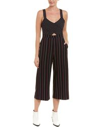 BCBGeneration - Striped Mixed-media Cropped Jumpsuit - Lyst