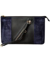Chloé Myer Leather Suede Pouch Lyst