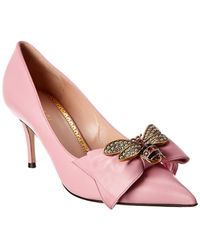 1759fe358d0 Lyst - Gucci Queen Margaret Bee Bow Pointy Toe Pump in Pink