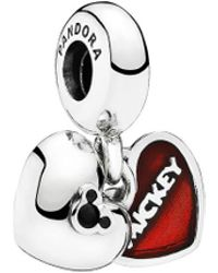 PANDORA Disney Jewellery Collection Silver Crystal Mickey & Minnie Dangle Charm - Black