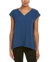 Lafayette 148 New York Cold-Shoulder Short-Sleeve Top Majolica NWT $248