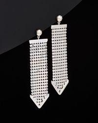 Argento Vivo - Silver Disco Mesh Bead Post Wide Linear Earrings - Lyst