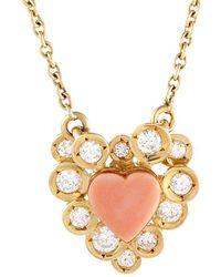Heritage Van Cleef & Arpels - Van Cleef & Arpels 18k 0.50 Ct. Tw. Diamond & Coral Necklace - Lyst
