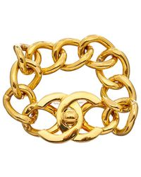 Chanel - Gold-tone Large Cc Turnlock Bracelet - Lyst
